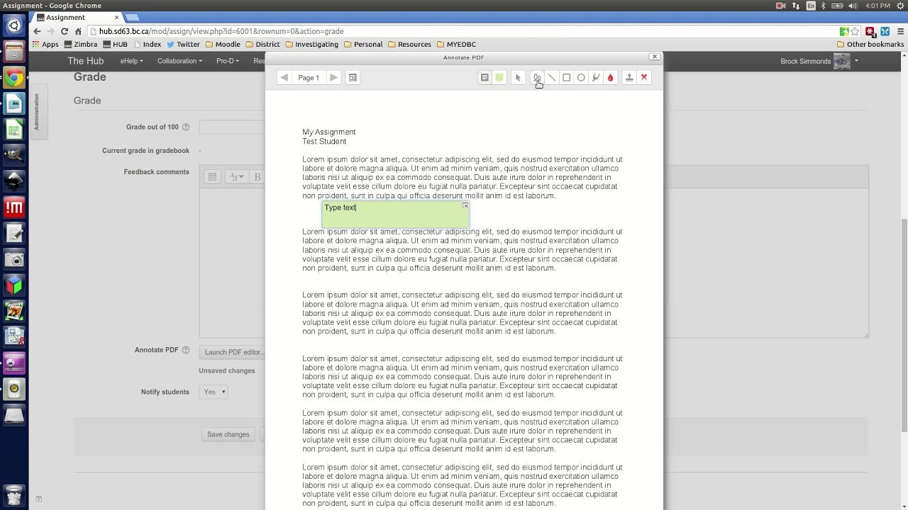 Moodle: Using Annotate PDF to mark assignments