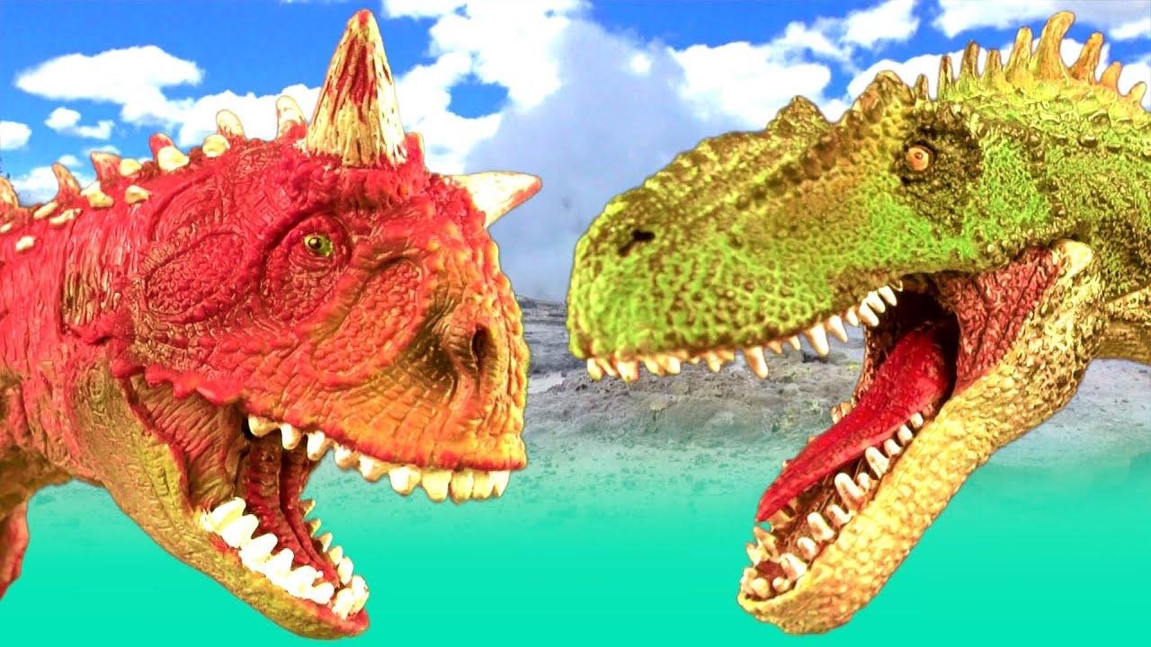 Dinosaur fight carnotaurus vs allosaurus battle t rex jurassic dino kids toys superfunreviews - Dinosaure toy story ...