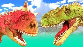 DINOSAUR Fight CARNOTAURUS vs ALLOSAURUS Battle T rex Jurassic Dino Kids Toys SuperFunReviews