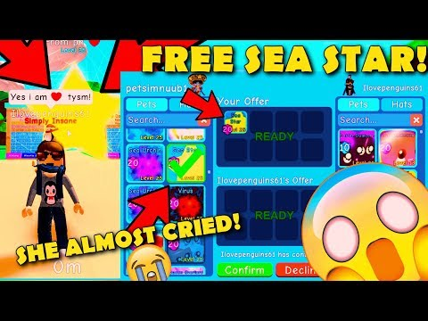 GIVING HER FREE *SEASTAR!* 🌟 SHE GOT SCAMMED! 💔 SHE CRIED?! *EMOTIONAL* 😭 IN BUBBLE GUM SIMULATOR