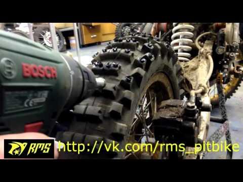Kold Kutter Ice Screws Installation. Mitas Pit Bike.  Установка шипов колд каттер питбайк