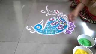 freehand simple Peacock rangoli design for diwali