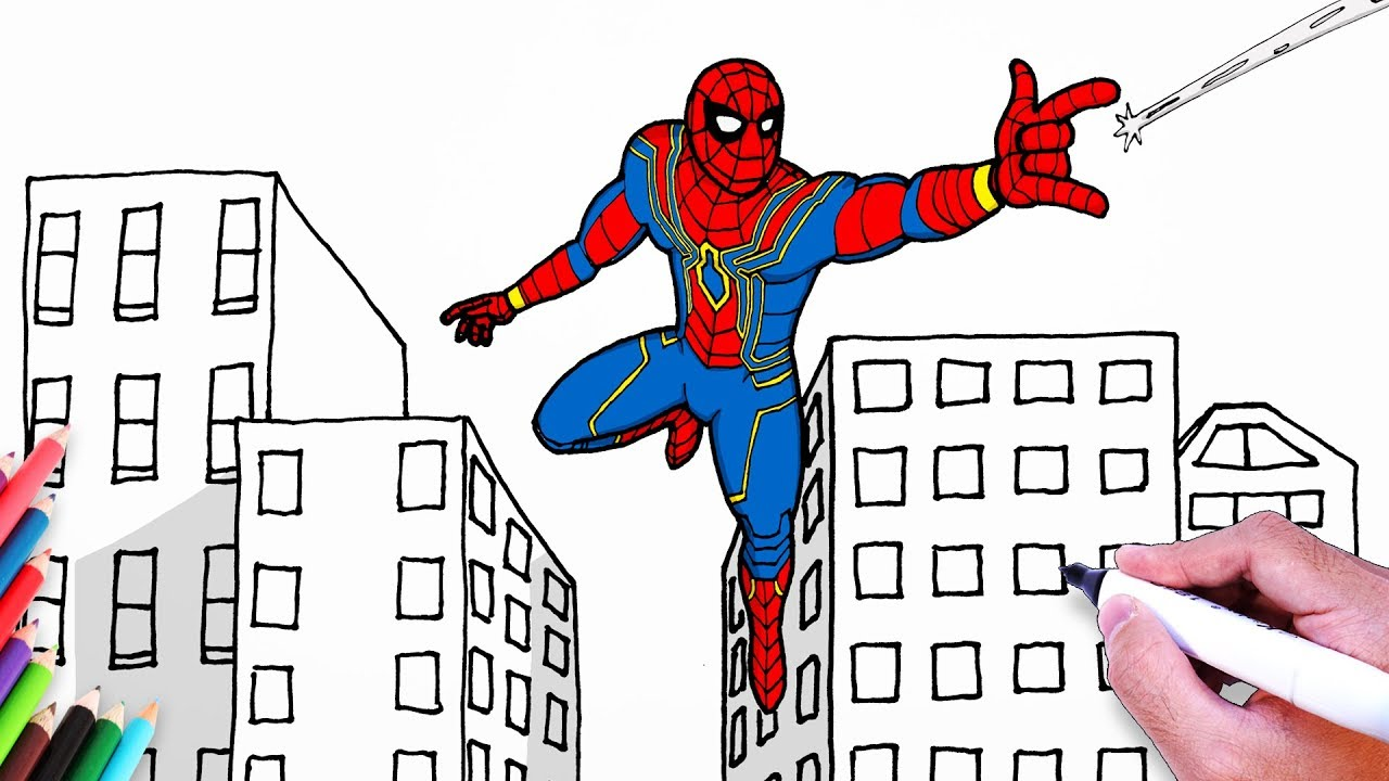 How To Draw Spiderman Iron Spider Suit Drawing Easy Step By Step