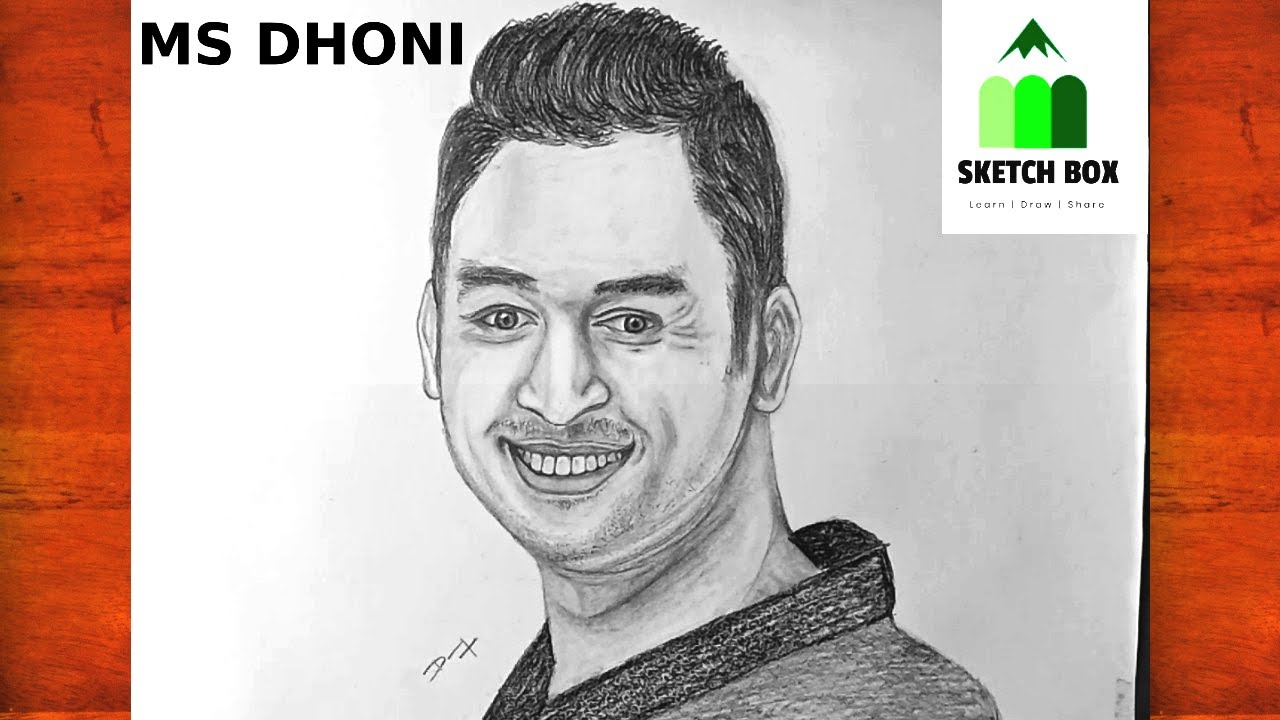 Dhoni Pencil Drawing Step by Step | MS DHONI | Portrait ...
