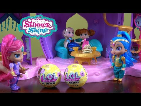 Princess Story Time with Frozen Anna and Elsa in Shimmer and Shine Palace w LOL Surprise Lil Sisters