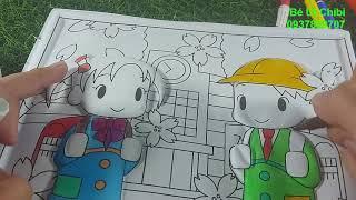 Tranh nổi 10k - Tô màu bạn trai + bạn gái / Bé Út Chibi