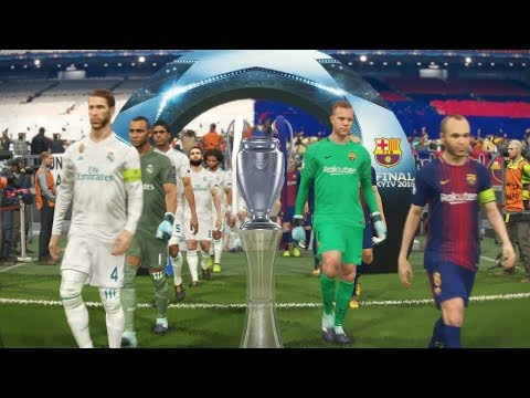 PES 2018 UEFA Champions League Final (FC Barcelona vs Real Madrid Gameplay)