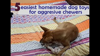 How to make 5 easiest HOMEMADE DOG TOYS for aggressive chewers | t-shirt toys| Delta approved ;)