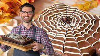 Amazing Chocolate Spider Web Halloween Cake