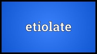 Etiolate Meaning