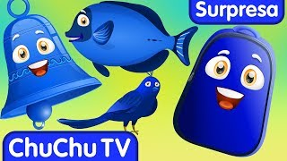 Aprenda a cor azul com o ovo surpresa divertido & a canção  da cor azul| ChuChuTV ovos surpresa