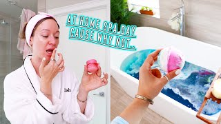 spa day at home cause why not... *skincare, bathbombs, self care!!