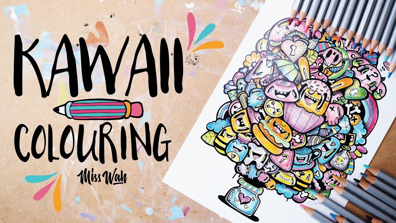 kawaii colouring shades of kawaii print cute miss wah youtube