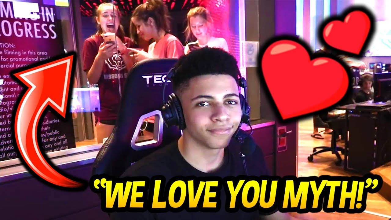 myth get s some love by fangirls at the esports arena in las vegas fortnite savage funny moments - esports las vegas fortnite