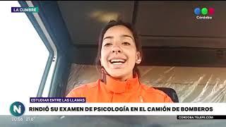 RINDIÓ SU EXAMEN DE PSICOLOGÍA EN EL CAMIÓN DE BOMBEROS MIENTRAS LUCHABA CONTRA EL FUEGO