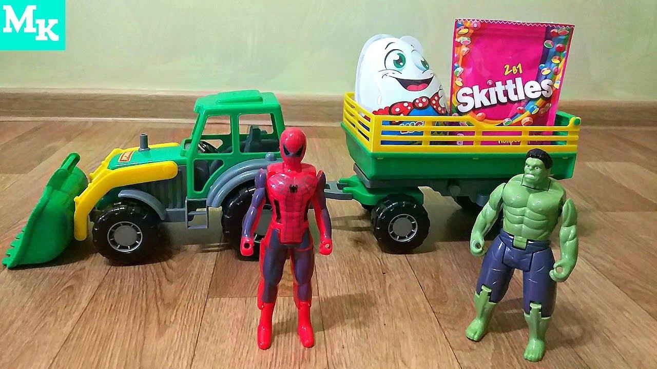 Человек Паук и Халк разгружают Трактор - YouTube