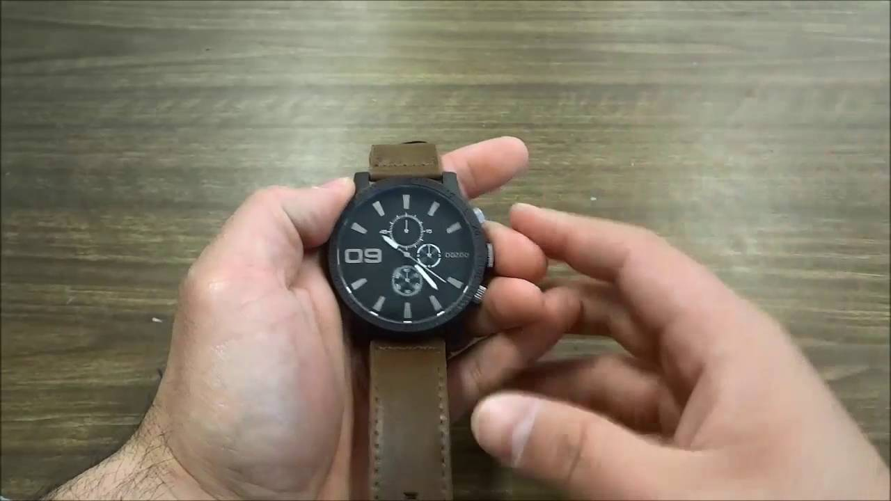 Oozoo C7867 Watch Review-Black Case And Black Dial With A Brown Leather Band 78a09c7a71e