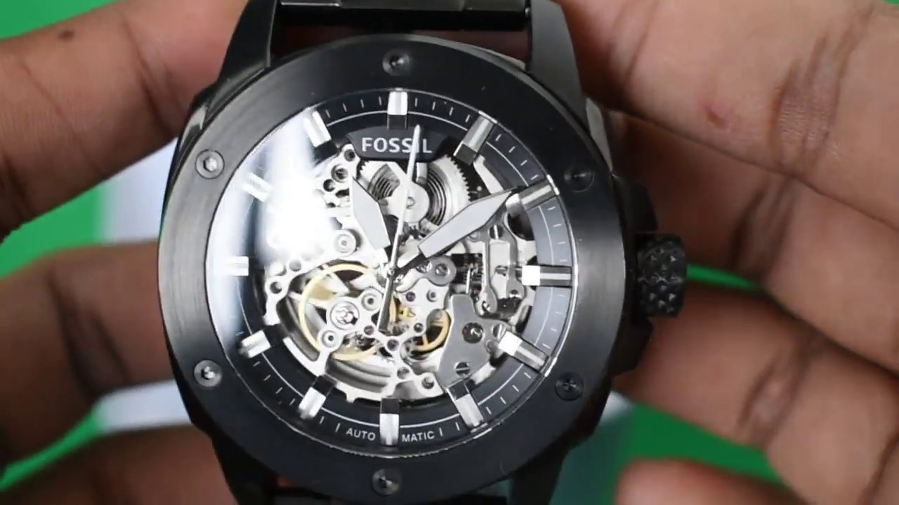 93c814cdae9 Fossil ME3080 Modern Machine Automatic Black Stainless Steel Watch (Silent  Review !HD)