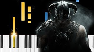 Skyrim Main Theme - Dragonborn - EASY Piano Tutorial - The Elder Scrolls V