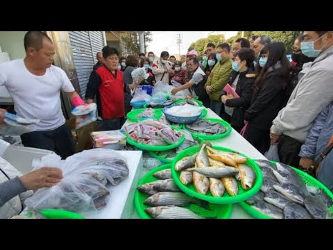 Taiwan Seafood Auction - This Guy Is Super Good At Selling Fish !