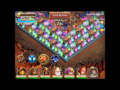 Castle Clash Insane Dungeon 6-1 With F2p Heroes