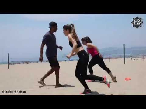 Small group beach workout