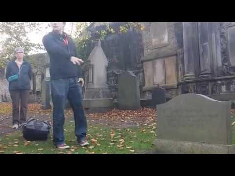Edinburgh Old Town tour. Cemetery fragment ( guillotine & Cpt. John Porteous ). Scotland