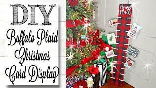 DIY Buffalo Plaid Christmas Card Display Board