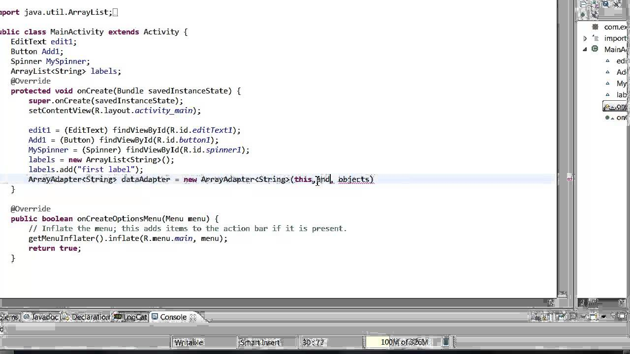 دورة تعليم برمجة تطبيقات الأندرويد الدرس التّاسع) شرح واجهة اللولب Android  Spinner و كيفيّة تكويدها