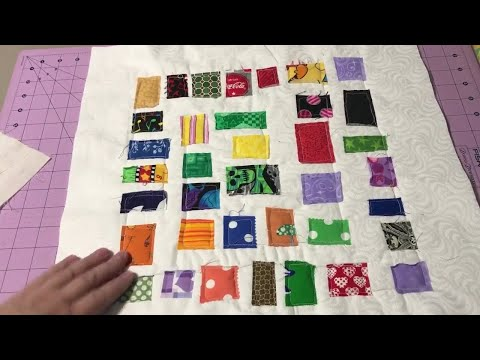 SCRAPS:  Quilt as you go Ticker Tape pillow cover - using those small bits of fabric scraps