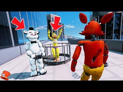 CAN FOXY SAVE TOY CHICA FROM EVIL WHITE FREDDY? (GTA 5 Mods FNAF Kids RedHatter) thumbnail