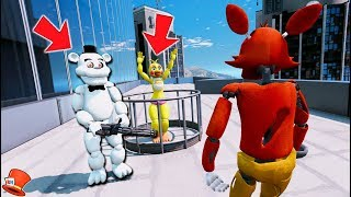 CAN FOXY SAVE TOY CHICA FROM EVIL WHITE FREDDY? (GTA 5 Mods FNAF Kids RedHatter)