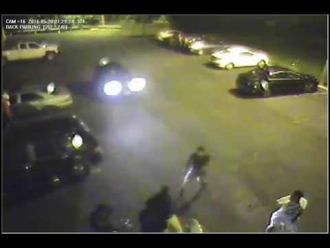 "This video from the Stamford Police Department depicts the shooting of two men behind the La Quinta Inn & Suites on Harvard Avenue Saturday. Police are looking for one suspect and a ""person of interest."""