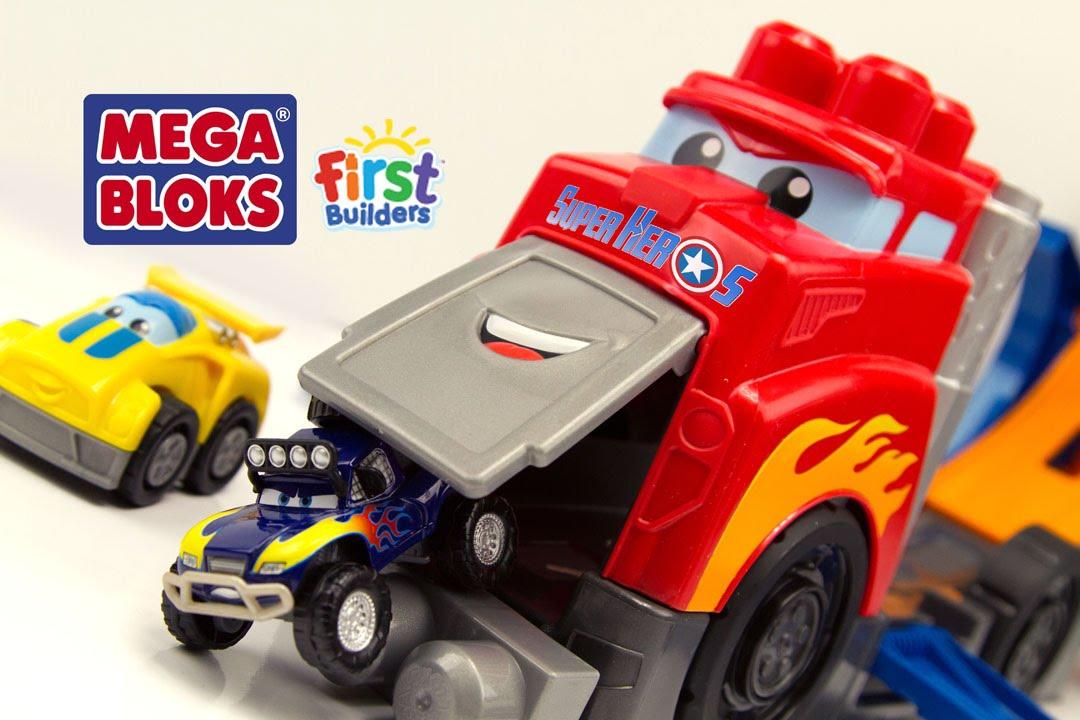 megabloks camion de course cascades cars jouet first builders fast track racing rig toy review. Black Bedroom Furniture Sets. Home Design Ideas