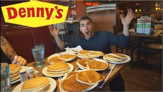 ALL YOU CAN EAT PANCAKES VS COMPETITIVE EATER | DESTROYING COUNTLESS PANCAKES | DENNY'S
