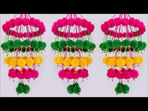 Amazing Pom Pom ! NEW Ceiling hanging Design | WOOLEN CRAFT | Easy DIY Craft | DIY Home Decor