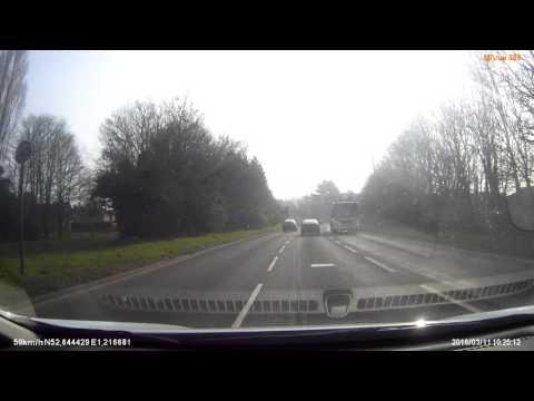 Bad driver wrong lane change at Costessey