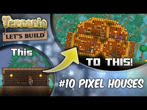 Terraria 1.3 Let's Build Ep11 Pixel Mob Houses! | Terraria house design tutorial