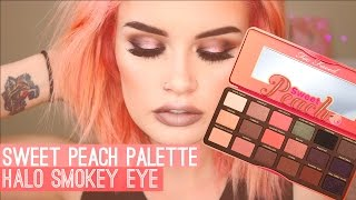 One of atleeeey's most viewed videos: TOO FACED SWEET PEACH PALETTE | HALO SMOKEY EYE
