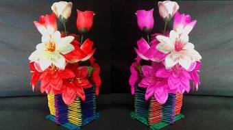 How To Make Ice Cream Sticks Flower Vase