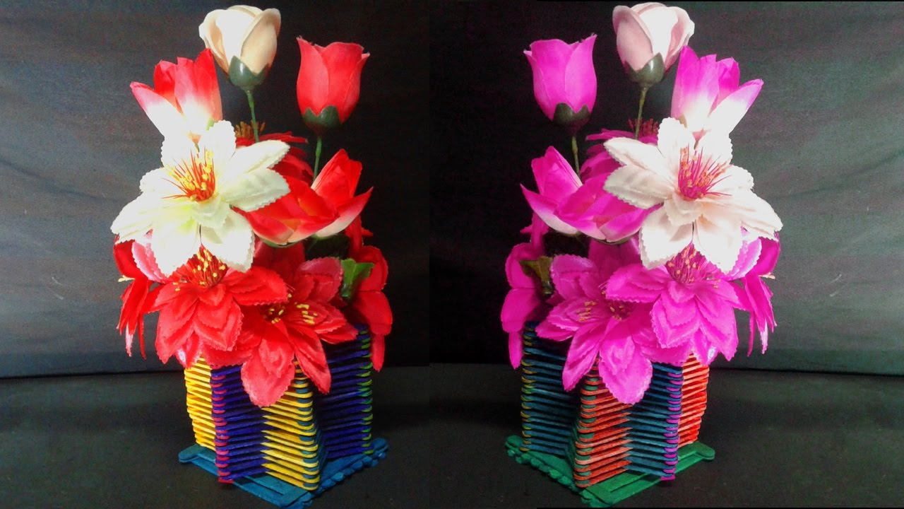 How To Make Ice Cream Sticks Flower Vase Popsicle Stick Crafts Ideas Diy Home Decor You
