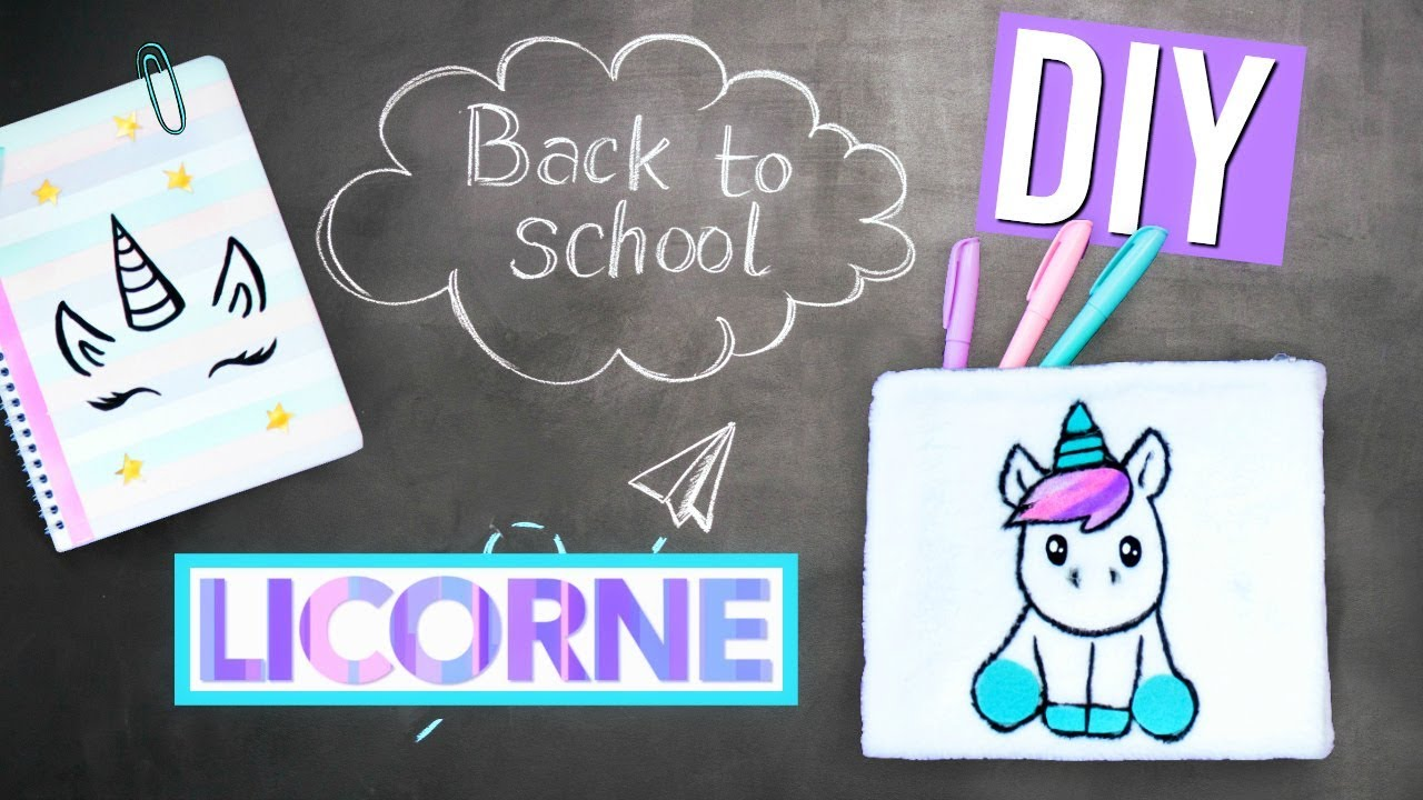 Coloriage Licorne Cultura.Diy Back To School Licorne Fournitures Scolaires Kawaii Francais