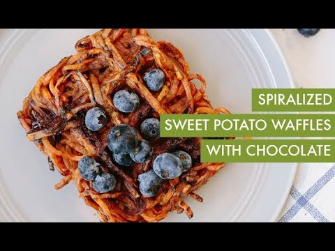 Spiralized Sweet Potato Waffles with Chocolate