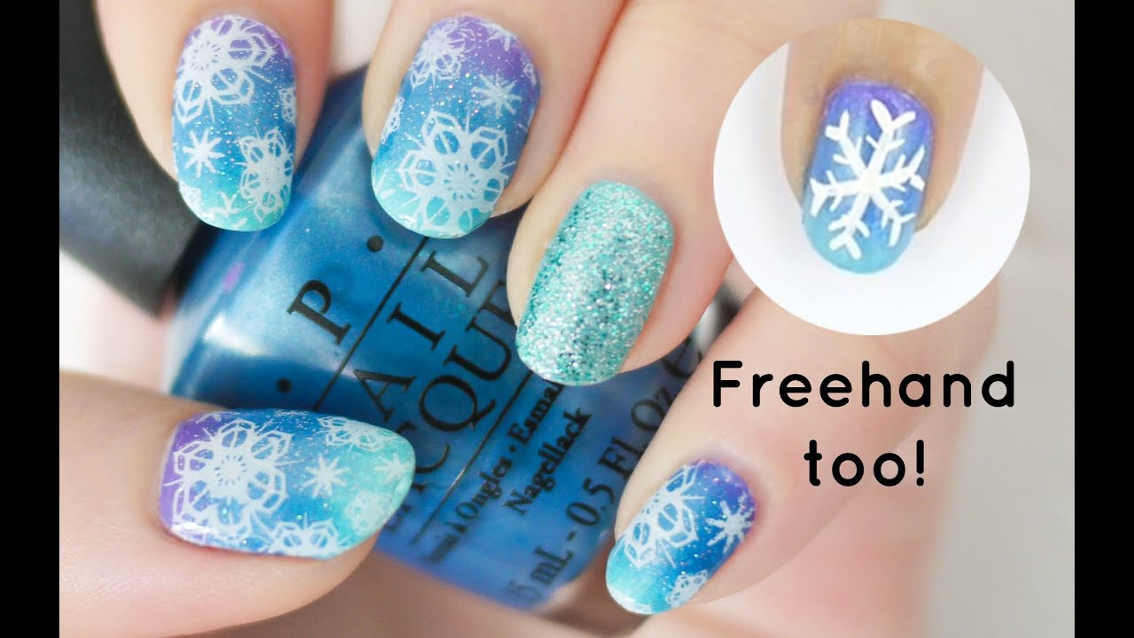 snowflake nails choose stamping or freehand youtube prinsesfo Image collections