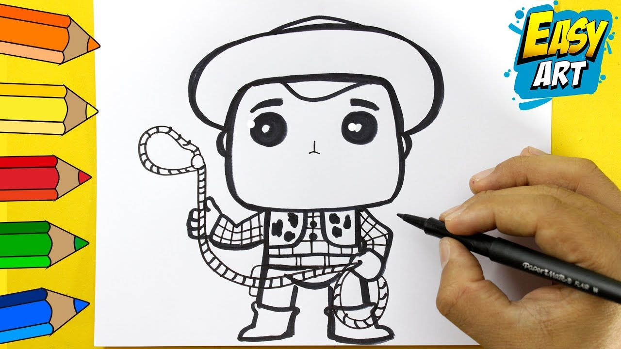 Como Dibujar A Woody De Toy Story 4 Kawaii How To Draw And Colour Toy Story Easy Art