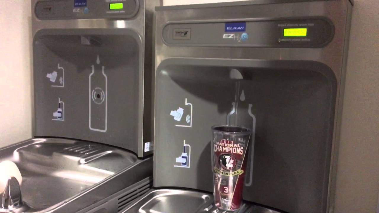 Water Bottle Filling Stations in Stone Building