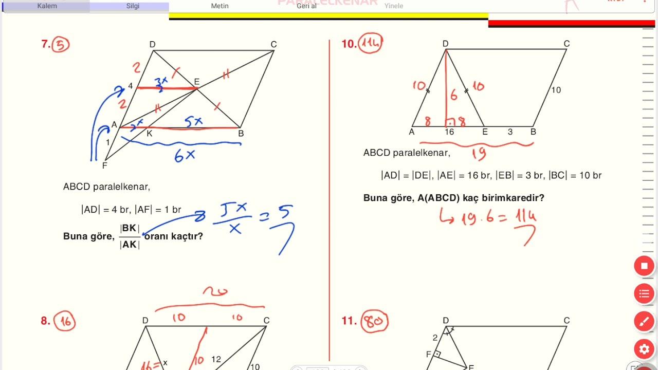 Paralelkenar A2 Testi On Calisma Sorulari 2 Sayfa 129 130 131