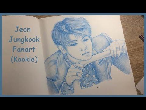 Jeon Jungkook Fanart (BTS) - Only one color pencil challenge ! [Blue Bic]