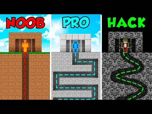 MINECRAFT NOOB VS PRO VS HACKER: ESCAPA DE LA PRISION EN MINECRAFT 😱😨 BUILD TUBERS