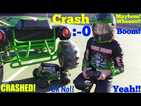 Crashing the Remote Control Toy Trucks! 24 Volts Ride-On Grave Digger Monster Jam Power Wheels